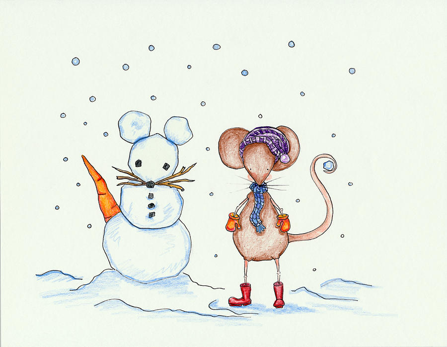 Snow Mouse And Friend Drawing  - Snow Mouse And Friend Fine Art Print