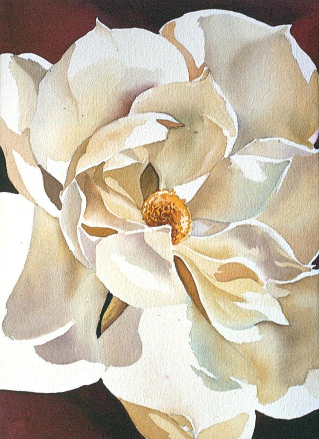 Watercolor Magnolia Painting - Southern Magnolia by Alfred Ng