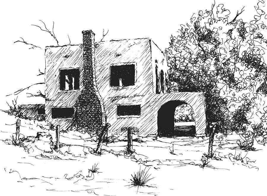 Spanish Mansion Drawing  - Spanish Mansion Fine Art Print