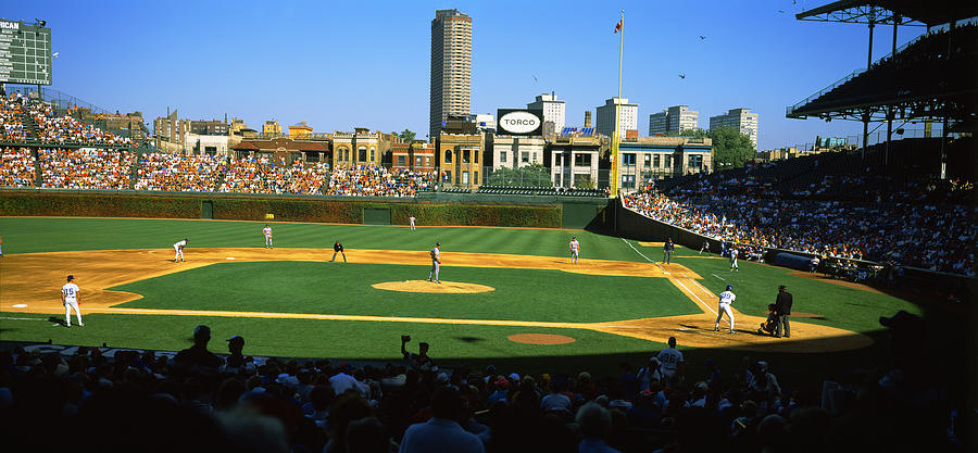 Spectators In A Stadium, Wrigley Field is a photograph by Panoramic ...