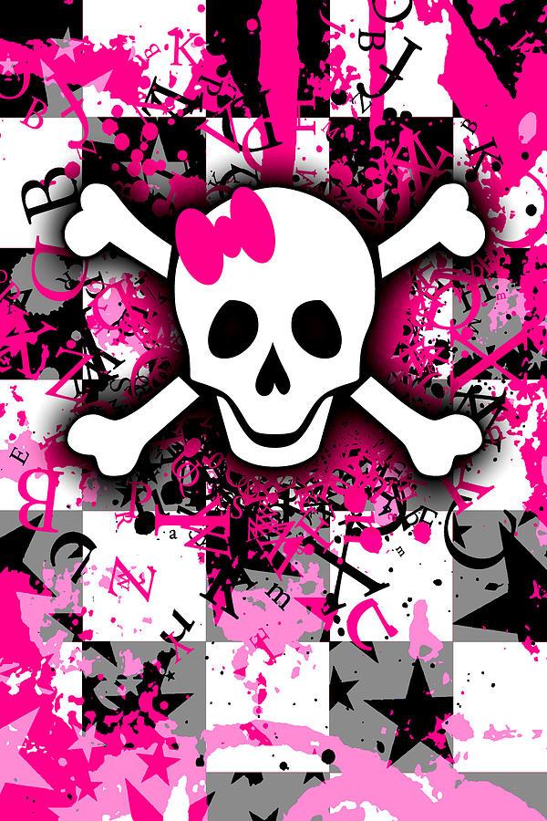 Splatter Girly Skull by Roseanne Jones