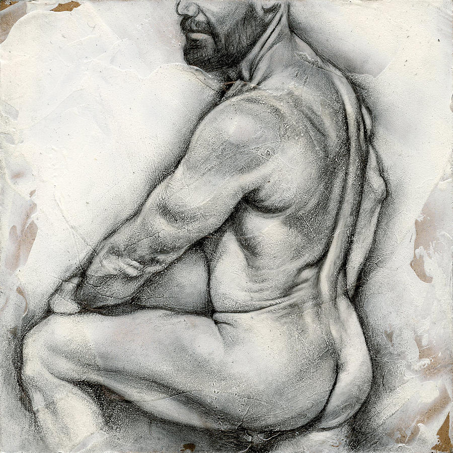 Male Drawing - Square Composition 5 by Chris  Lopez
