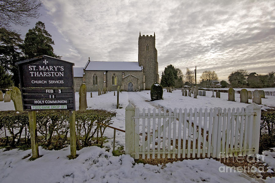 English Church Snow Photograph - St Marys Tharston by Darren Burroughs