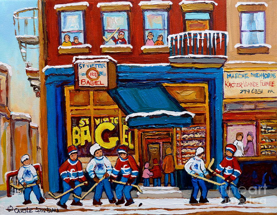 St.viateur Bagel Painting - St. Viateur Bagel With Hockey by Carole Spandau