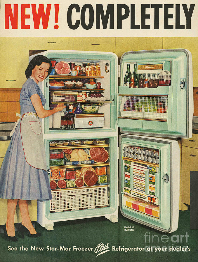 Stor-mor  1950s Uk Fridges Freezers Drawing  - Stor-mor  1950s Uk Fridges Freezers Fine Art Print