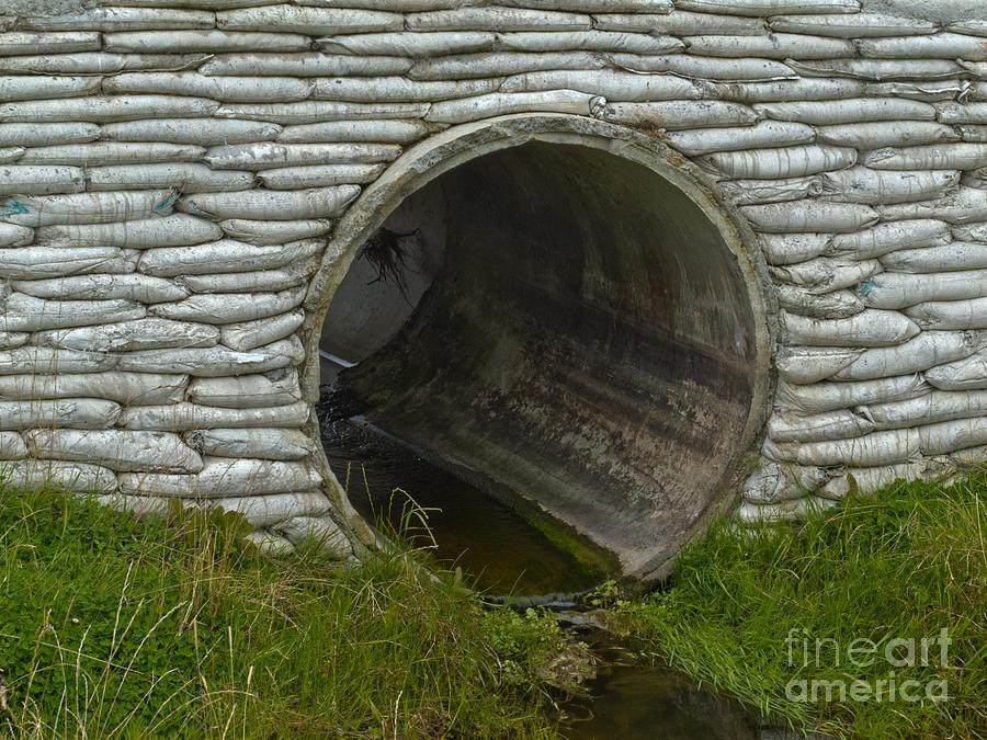 Storm culvert drainage pipe concrete revetment photograph
