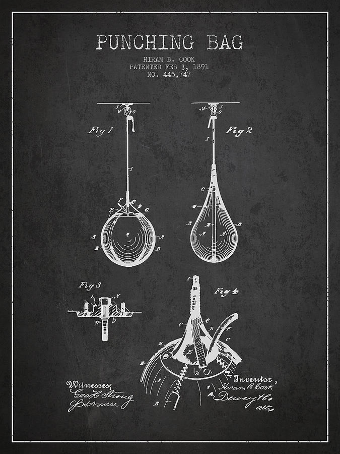 Striking Bag Patent Drawing From1891 Drawing