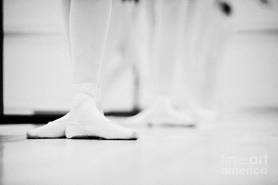 Students With Feet In The Third Position At A Ballet School In The Uk Photograph  - Students With Feet In The Third Position At A Ballet School In The Uk Fine Art Print