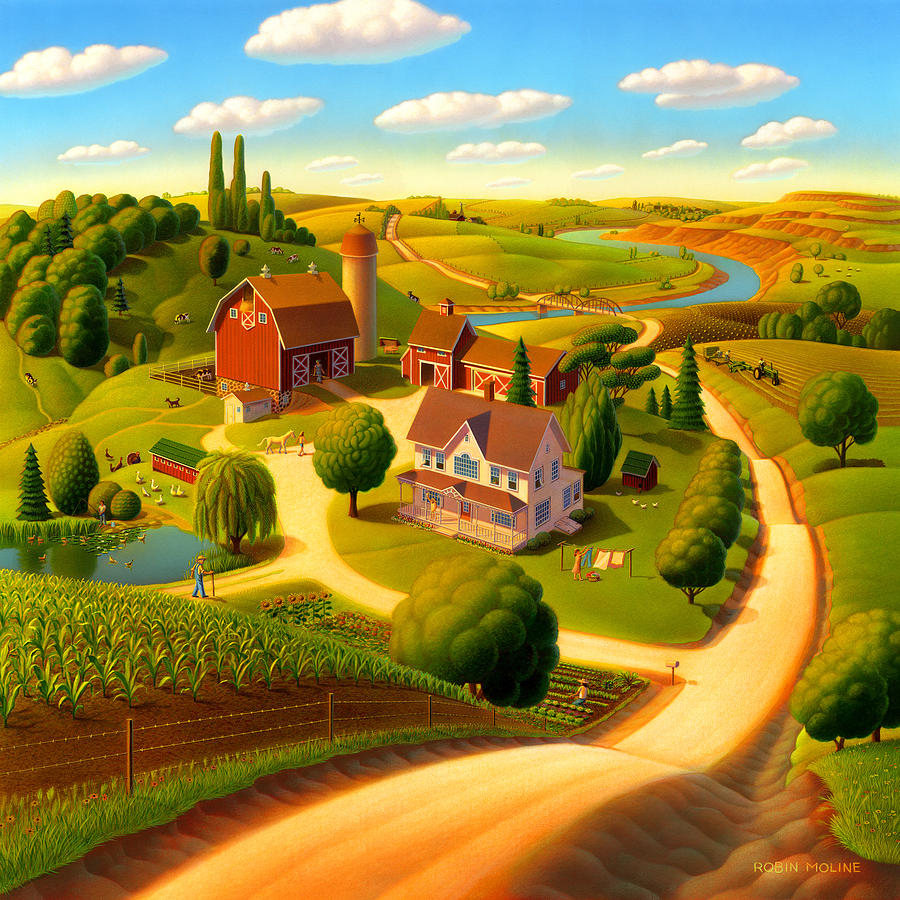 Summer On The Farm  Painting  - Summer On The Farm  Fine Art Print