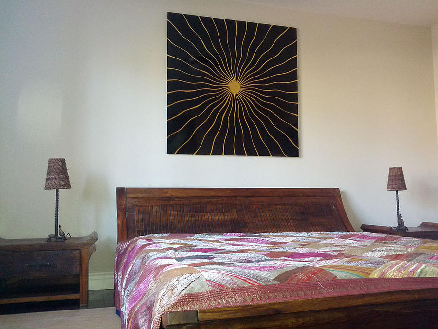 Optical Illusion Abstracts Contemporary Art 24 Karat Pure Gold Leafs  Painting - Sunbeams by Stephane Catalano