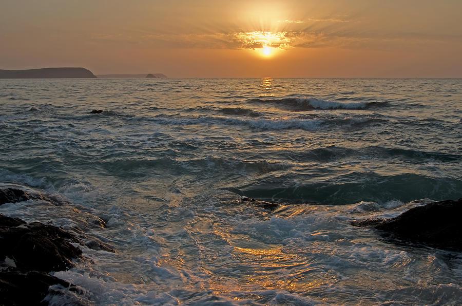 Portscatho Cornwall Sea Photograph - Sunrise At Portscatho by Pete Hemington