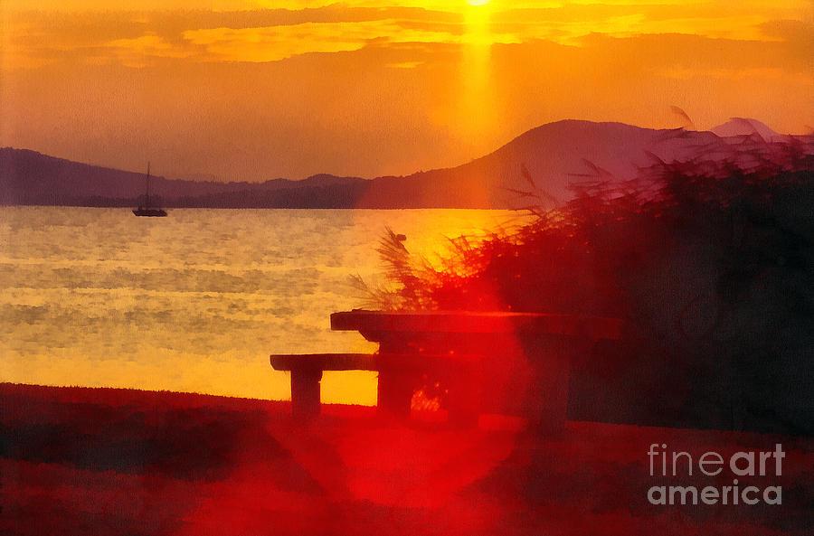Acrylic Painting - Sunrise In The Balaton Lake by Odon Czintos