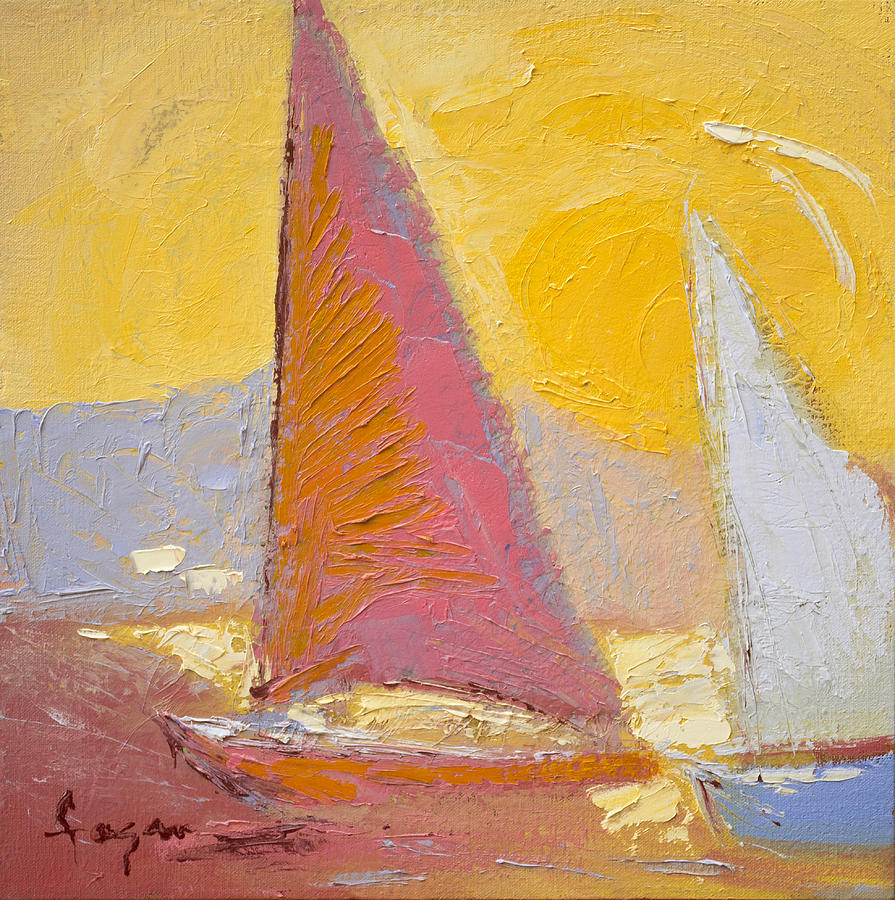 Sunrise Sails Painting  - Sunrise Sails Fine Art Print
