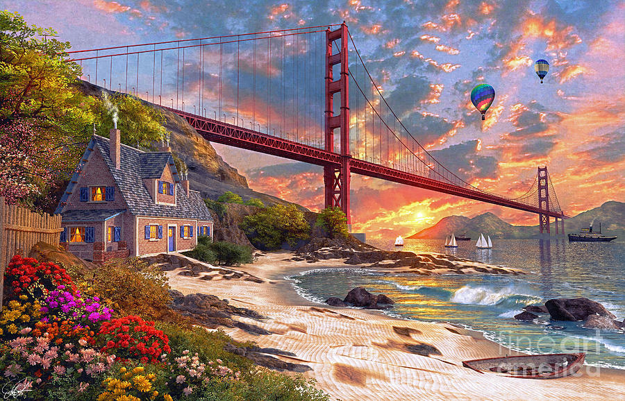Sunset At Golden Gate Digital Art