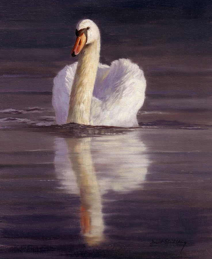 Swan Painting - Swan by David Stribbling