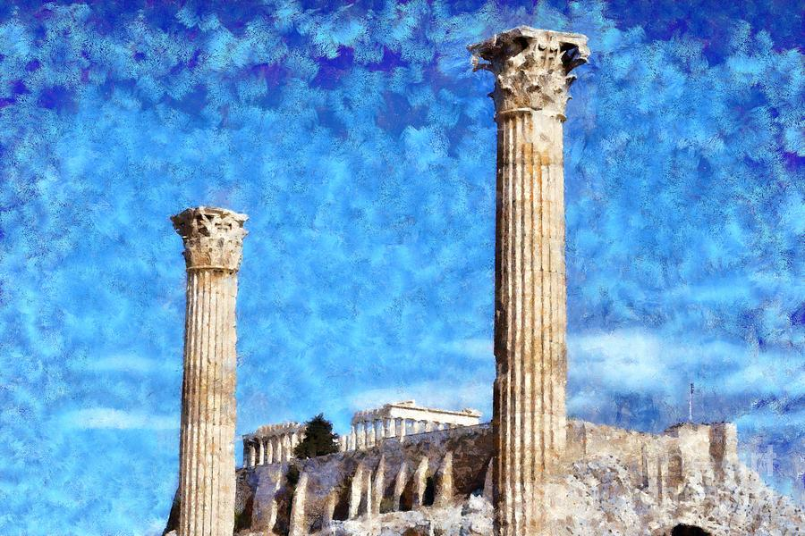 Temple Of Olympian Zeus And Acropolis Painting