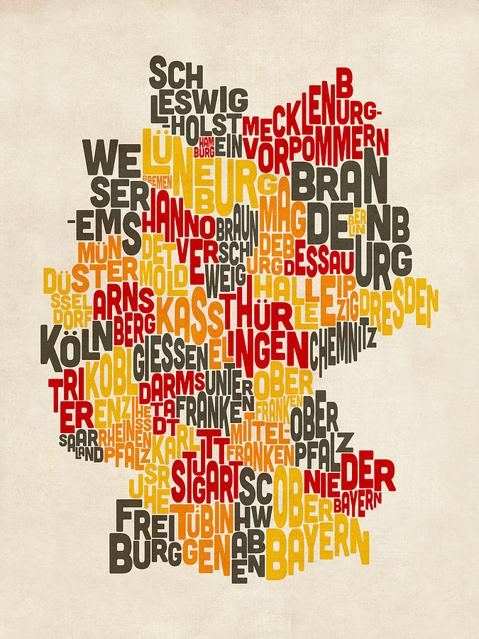 Text Map Of Germany Map Digital Art  - Text Map Of Germany Map Fine Art Print