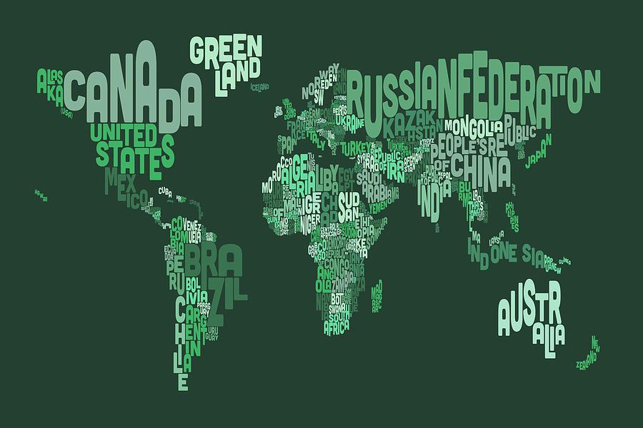 Text Map Of The World Map Digital Art