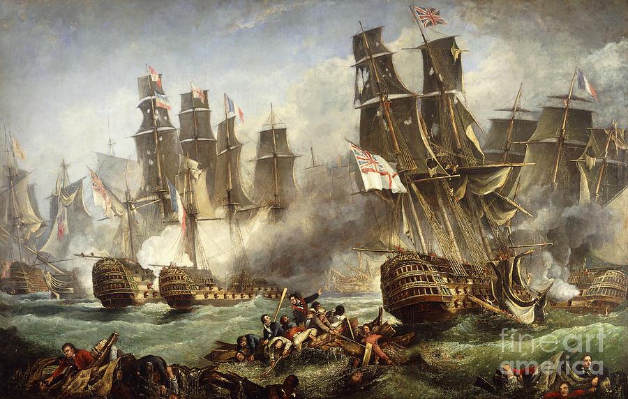 Battle Of Trafalgar Painting - The Battle Of Trafalgar by English School