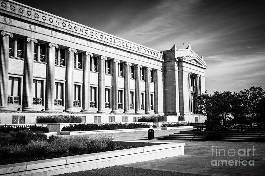 The Field Museum In Chicago In Black And White Photograph