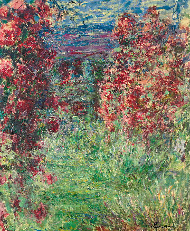 the house at giverny under the roses painting by claude monet. Black Bedroom Furniture Sets. Home Design Ideas