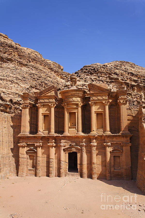 Petra Photograph - The Monastery Sculpted Out Of The Rock At Petra In Jordan by Robert Preston