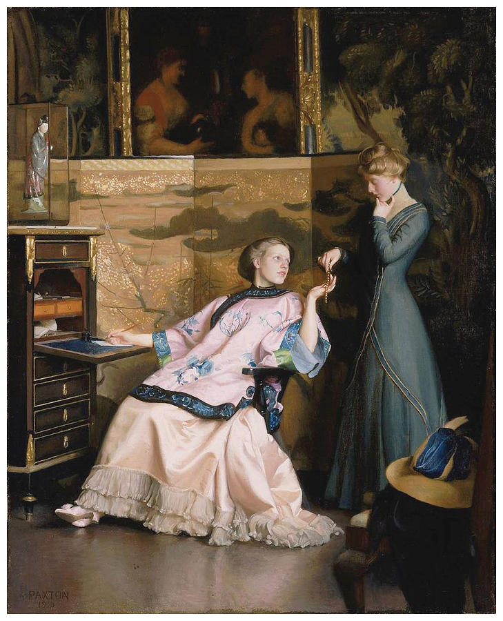 William Mcgregor Paxton Painting - The New Necklace by William McGregor Paxton
