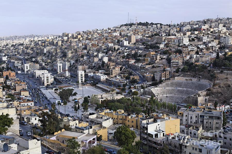 Amman Photograph - The Roman Theatre In The Middle Of The City Of Amman Jordan by Robert Preston