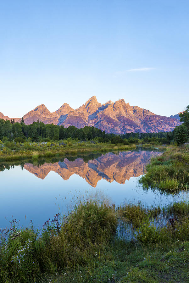 The Tetons Reflected On Schwabachers Landing - Grand Teton National Park Wyoming Photograph