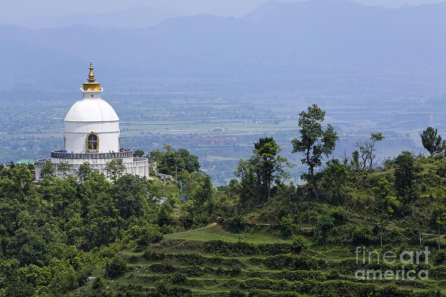 The World Peace Pagoda Pokhara Photograph  - The World Peace Pagoda Pokhara Fine Art Print