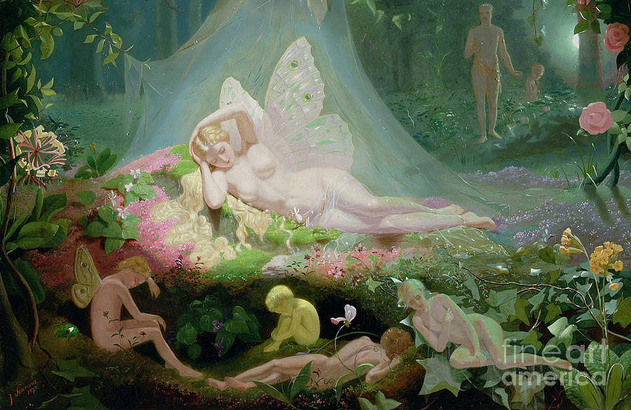 A Midsummer Night's Dream Painting - There Sleeps Titania by John Simmons
