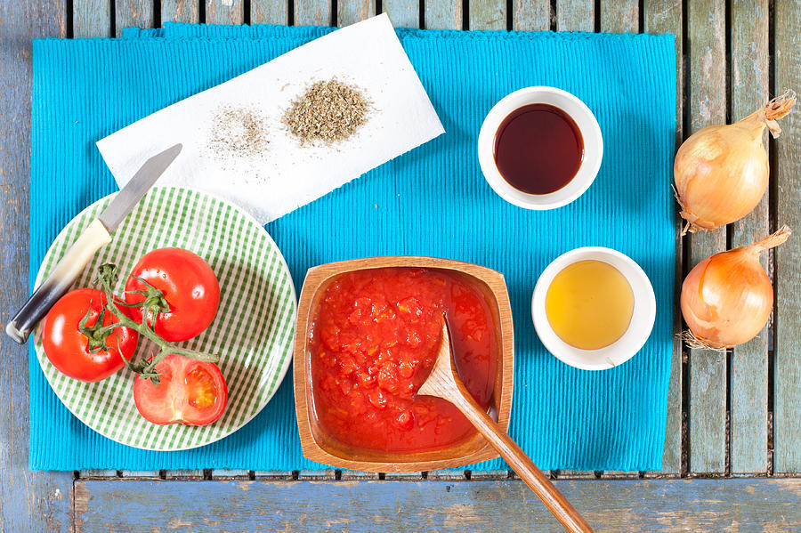 Balsamic Photograph - Tomatoes And Onions by Tom Gowanlock