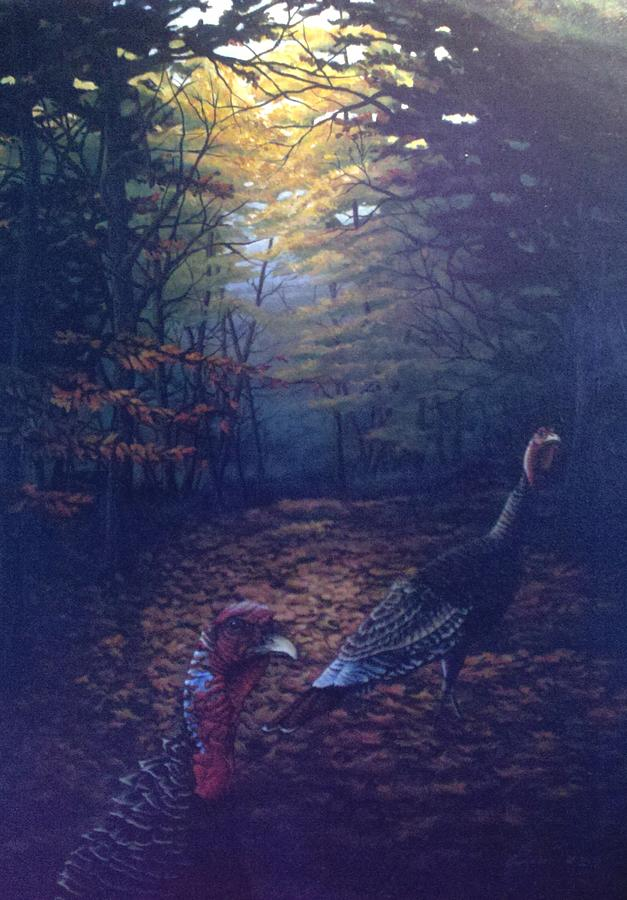 Turkeys Painting - Two Jakes by Dan Parsons
