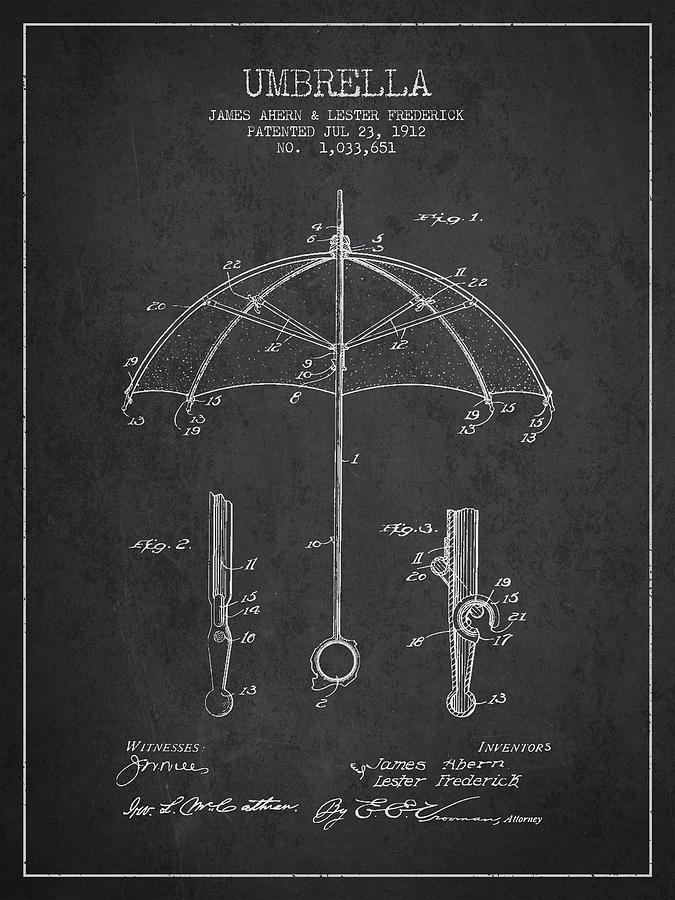 Umbrella Drawing - Umbrella Patent Drawing From 1912 by Aged Pixel