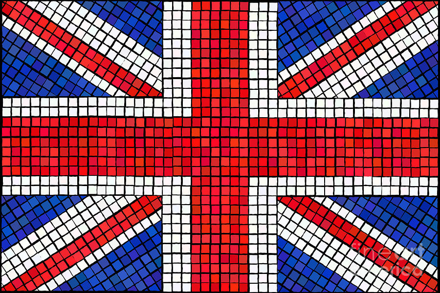 Background Digital Art - Union Jack Mosaic by Jane Rix