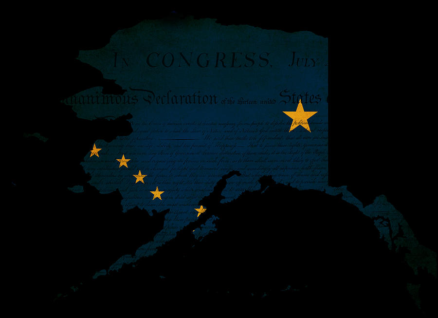 Usa American Alaska State Map Outline With Grunge Effect Flag Photograph
