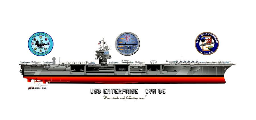 Uss Enterprise Cvn 65 2012 Drawing  - Uss Enterprise Cvn 65 2012 Fine Art Print
