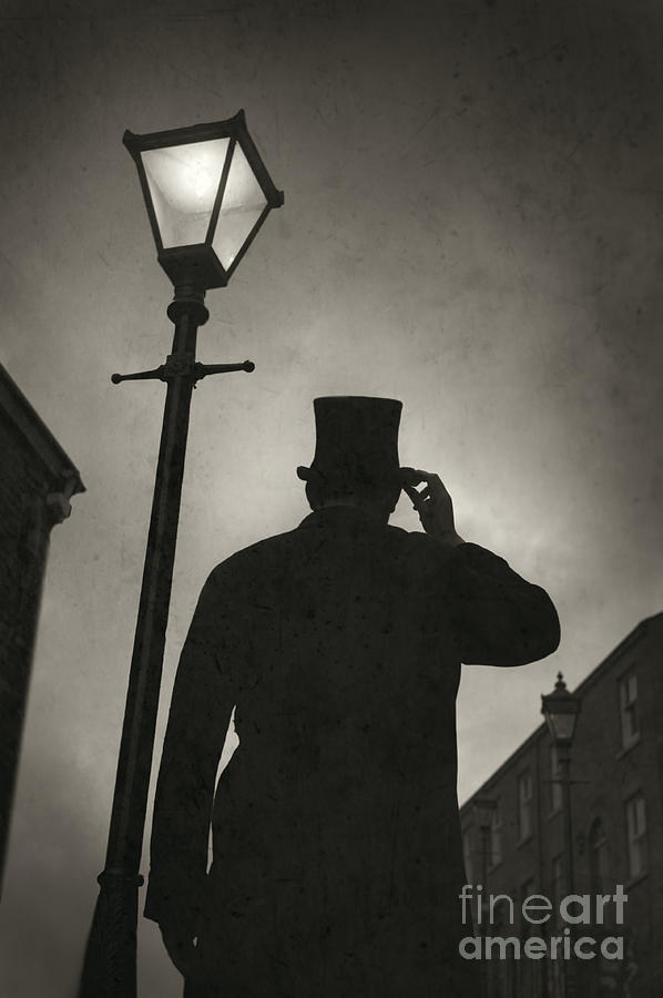 Victorian Man With Top Hat Under A Gas Lamp Photograph