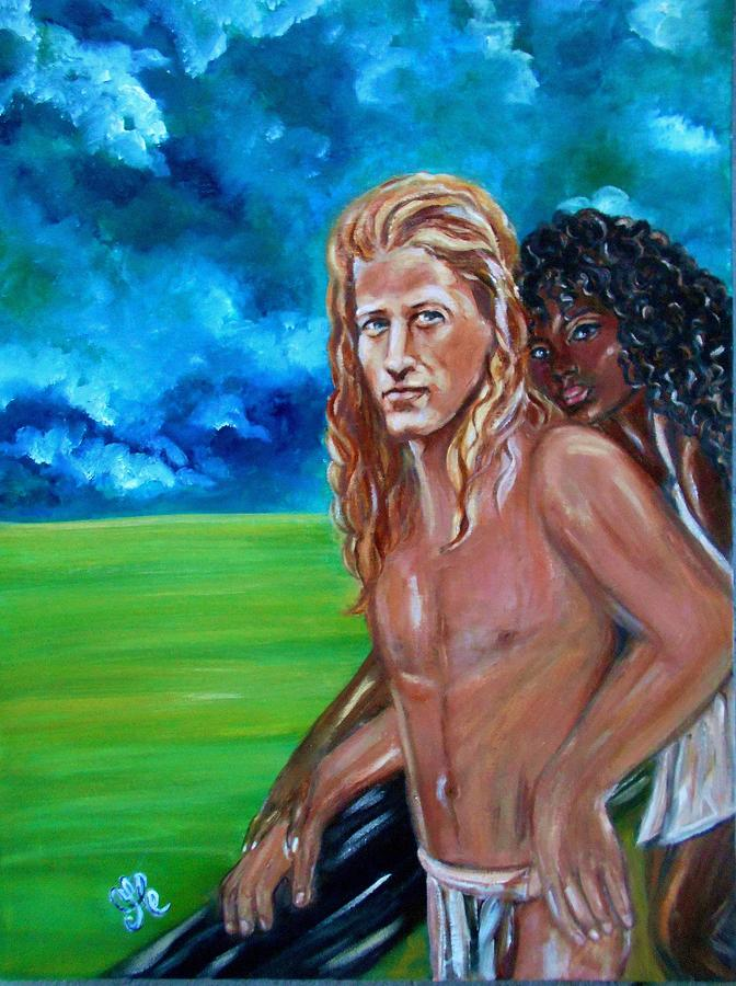 Vikings In America B.h.  - Interracial Lovers Series Painting