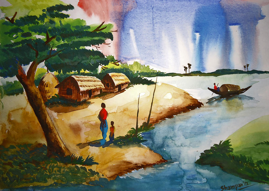Village Landscape Of Bangladesh Painting  - Village Landscape Of Bangladesh Fine Art Print