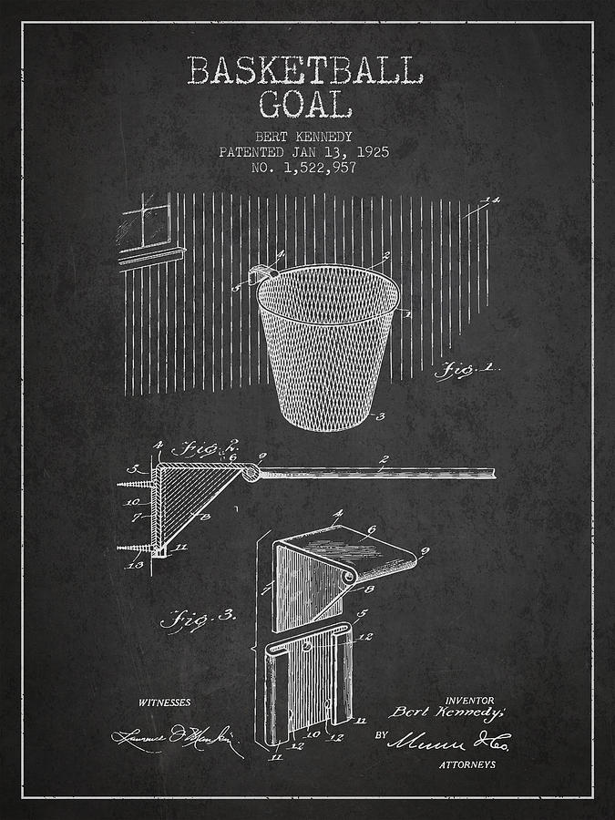 Hoop Patent Drawing - Vintage Basketball Goal Patent From 1925 by Aged Pixel
