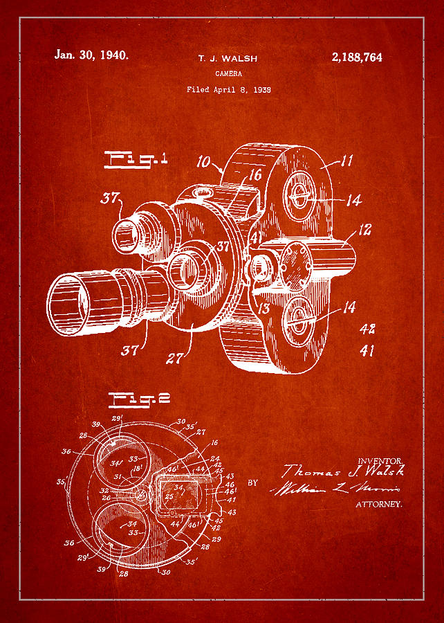 Vintage Camera Patent Drawing From 1938 Drawing