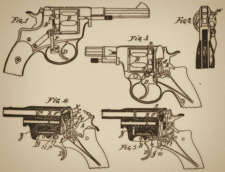 Vintage Colt Revolver Drawing  Mixed Media