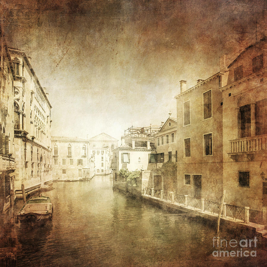 Square Image Photograph - Vintage Photo Of Venetian Canal by Evgeny Kuklev