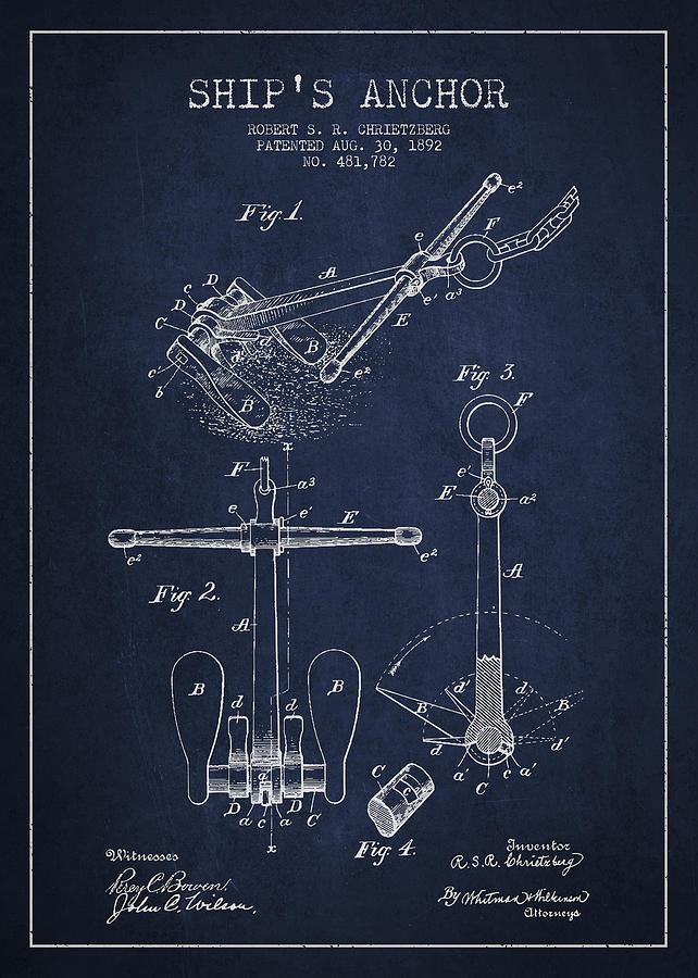 Vintage Ship Anchor Patent From 1892 Drawing