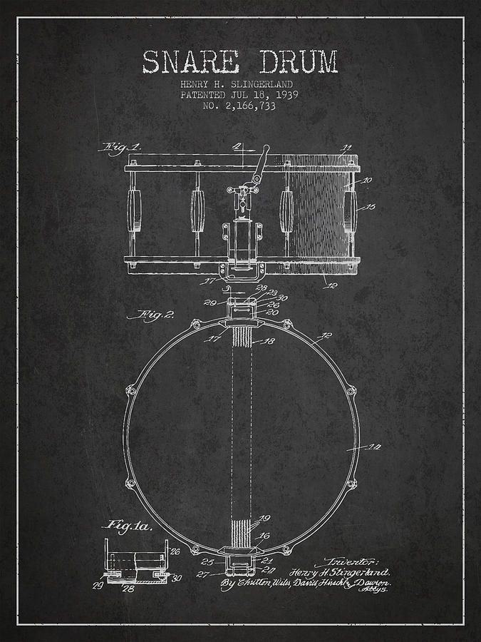 Snare Drum Patent Drawing From 1939 - Dark Drawing