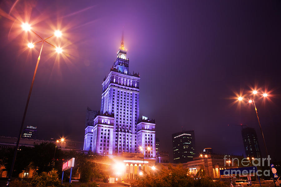 Warsaw Poland Downtown Skyline At Night Photograph  - Warsaw Poland Downtown Skyline At Night Fine Art Print