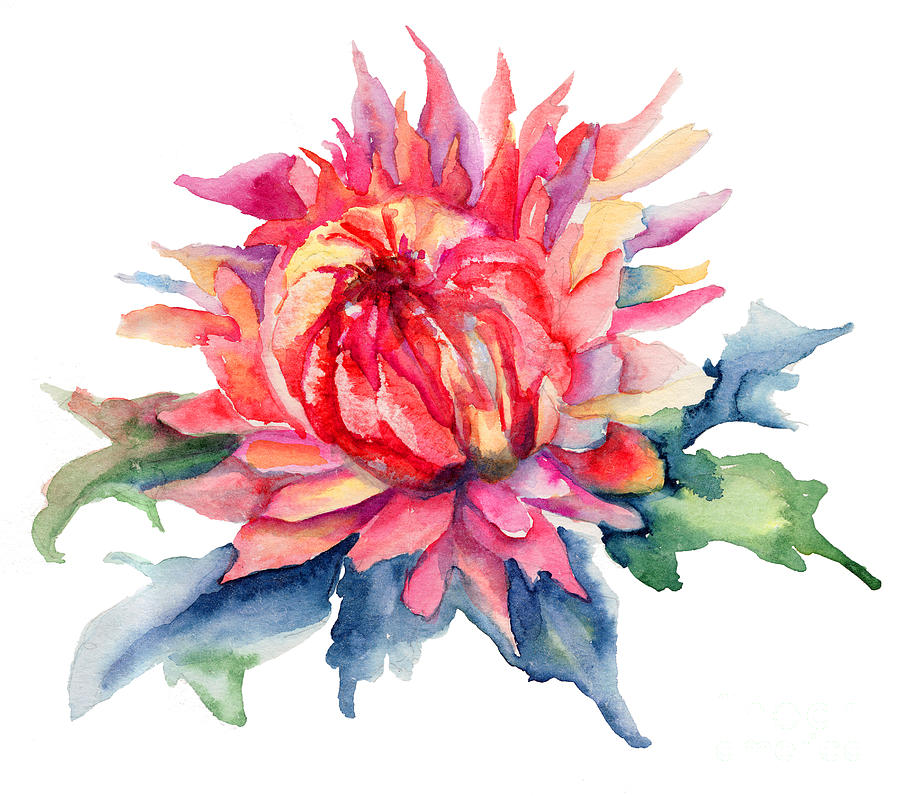 Watercolor illustration with beautiful flowers painting by for Pretty flower paintings