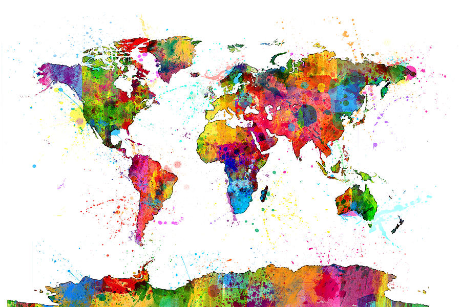 Watercolor Political Map Of The World Digital Art By Michael Tompsett