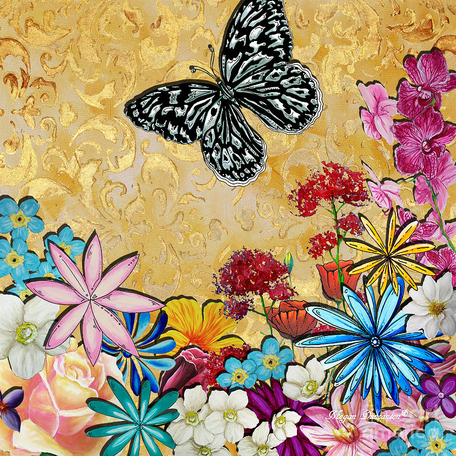 Whimsical Floral Flowers Butterfly Art Colorful Uplifting ...
